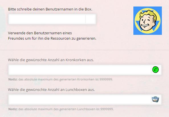Fallout Shelter Kronkorken und Lunchboxen Online Generator