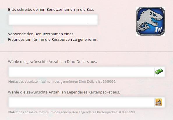 Jurassic World Das Spiel Dino-Dollars und Legendäre Kartenpackete Online Generator
